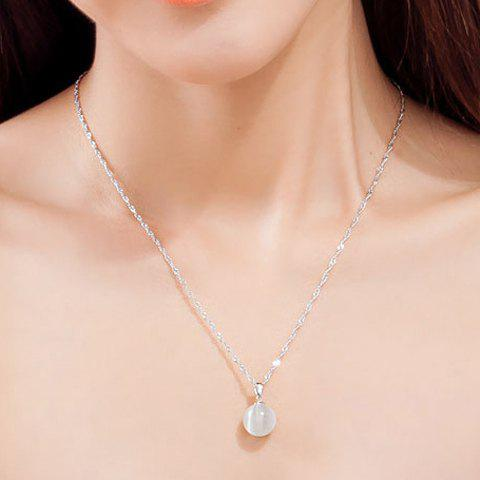 Cute Faux Opal Ball Necklace For Women - WHITE