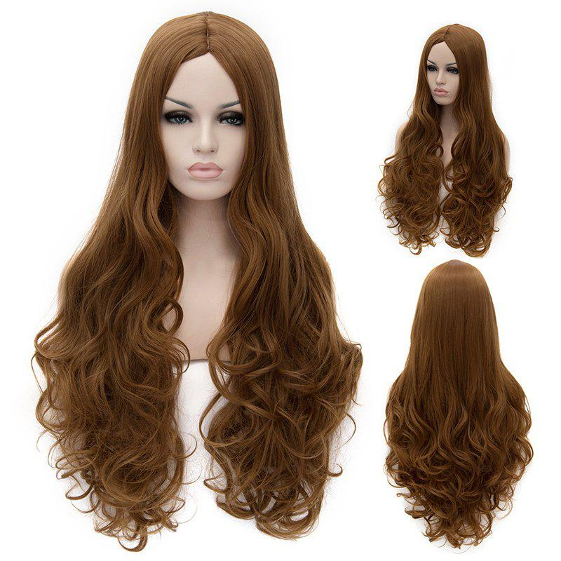 Fluffy Wavy Brown Synthetic Elegant Extra Long Centre Parting Women's Cosplay Wig - GOLD BROWN