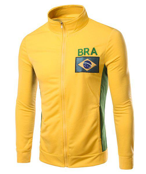 Stylish Hit Color Flag of Brazil Embroidered Stand Collar Long Sleeves Men's Sweatshirt - YELLOW L