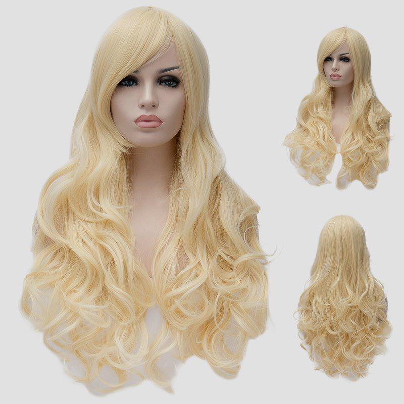 Fluffy Wavy Light Blonde Synthetic Fashion Extra Long Centre Parting Cosplay Wig For Women - LIGHT GOLD