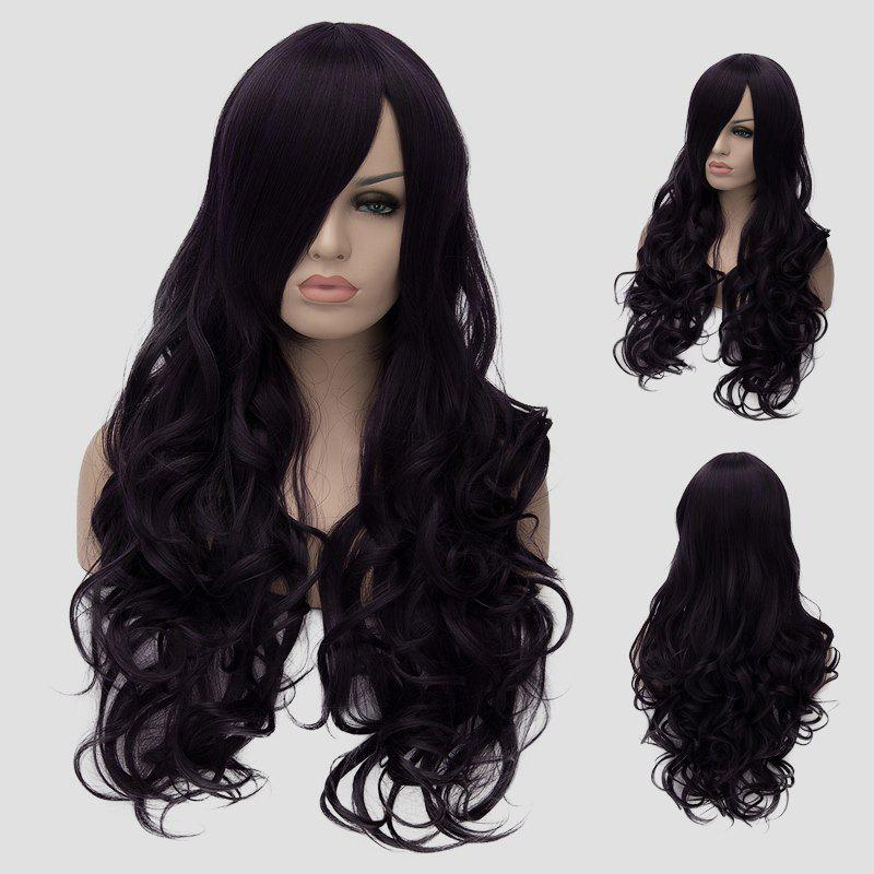 Fluffy Wave Atropurpureus Synthetic Gorgeous Long Side Bang Universal Women's Cosplay Wig - BLACK/PURPLE