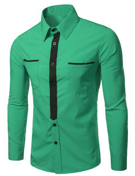 Turn-Down Collar Color Block Splicing Patch Pocket Long Sleeve Men's Shirt - GREEN L