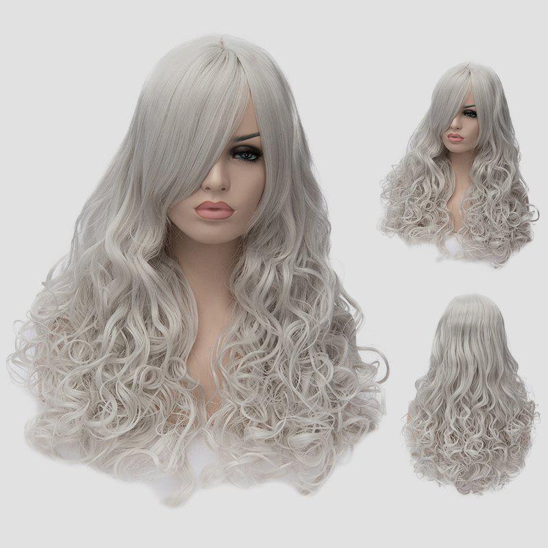 Fluffy Wavy Silvery White Synthetic Attractive Long Side Bang Universal Women's Cosplay Wig - SILVER WHITE
