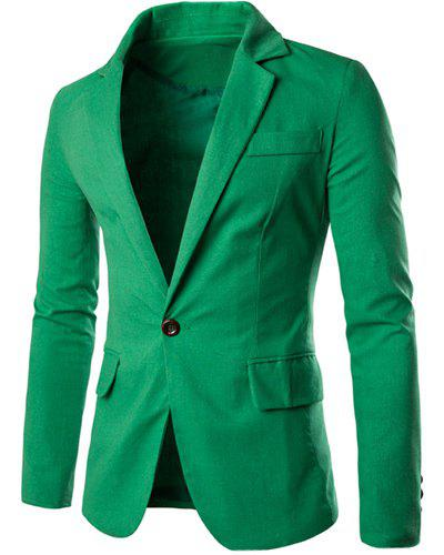 One Button Single-Breasted Color Spliced Lapel Long Sleeves Men's Cotton+Linen Blazer - GREEN M