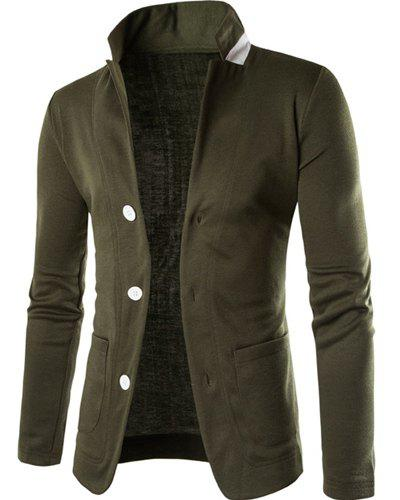 Stereo Pocket Color Block Lapel Long Sleeves Men's Single-Breasted Blazer - ARMY GREEN L