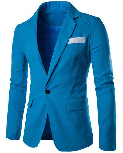 One Button Single-Breasted Color Splicing Lapel Long Sleeves Men's Linen Blended Blazer pure color 3 4 sleeves linen blazer