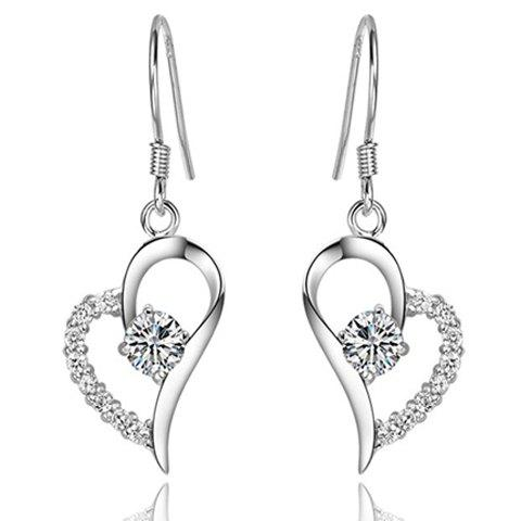 Rhinestone Heart Hook Earrings - SILVER