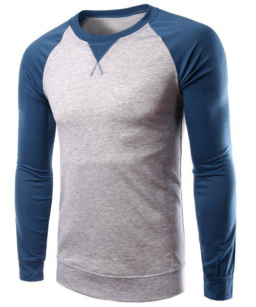 Round Neck Hit Color Spliced Long Sleeve Men's T-Shirt - LIGHT GRAY M