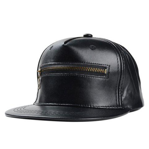 Chic Zipper Embellished Women's PU Baseball Cap - BLACK