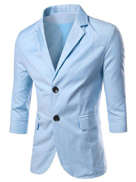 Modish Turn-Down Collar Solid Color Single Breast 3/4 Length Sleeve Men's Blazer - LIGHT BLUE M