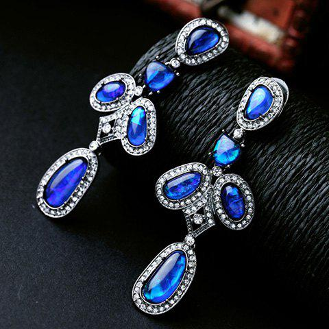 Pair of Delicate Rhinestone Oval Faux Crystal  Earrings For Women - BLUE