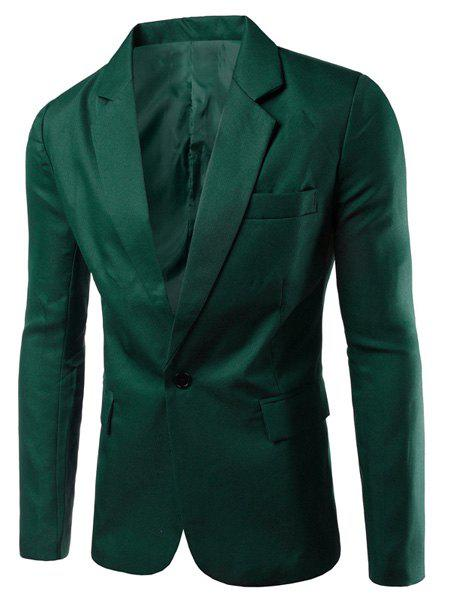 Modish Turn-Down Collar Solid Color Single Breast Long Sleeve Men's Blazer - BLACKISH GREEN 2XL