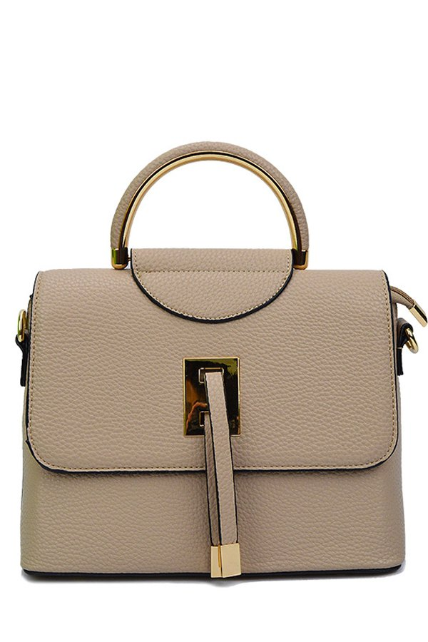 Trendy Metal and Solid Color Design Tote Bag For Women - APRICOT