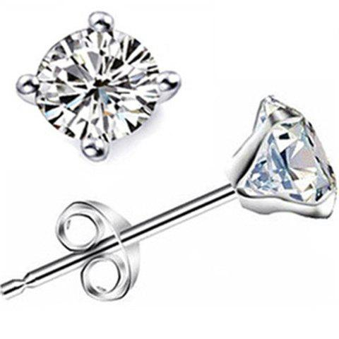 Pair of Alloy Rhinestone Stud Earrings - SILVER