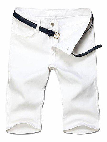 Slimming Solid Color Straight Leg Zipper Fly Men's Shorts - WHITE 38