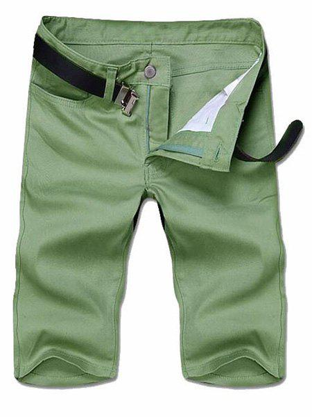 Slimming Solid Color Straight Leg Zipper Fly Men's Shorts - DEEP GREEN 34