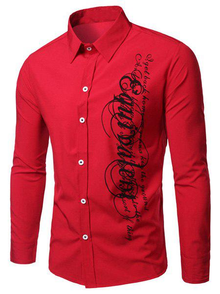 Elegant Turn-Down Collar Letters Printing Long Sleeve Men's Shirt - RED M
