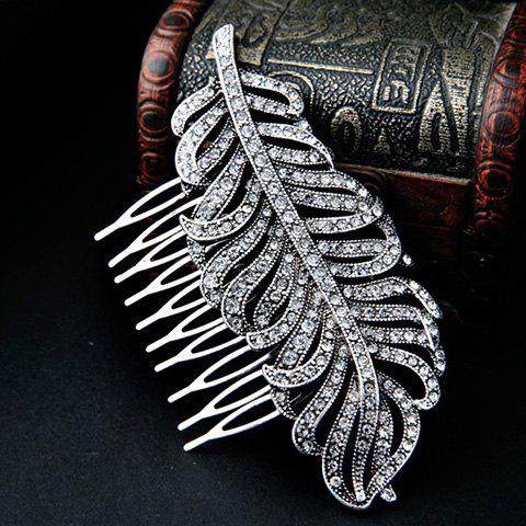 Chic Rhinestoned Hollow Out Leaf Shape Hair Comb For Women - SILVER