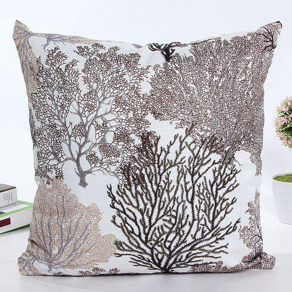 High Quality Square Shape Colorful Tree Printed Pattern Pillow Case(Without Pillow Inner)