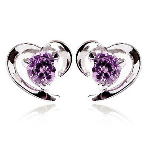 Pair of Graceful Faux Crystal Heart Earrings For Women