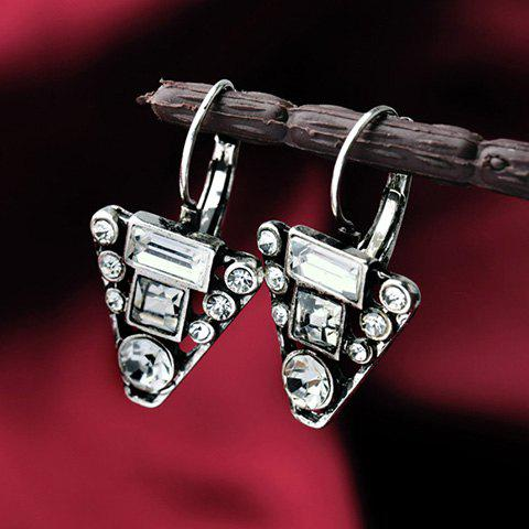 Pair of Triangle Faux Crystal Earrings - SILVER