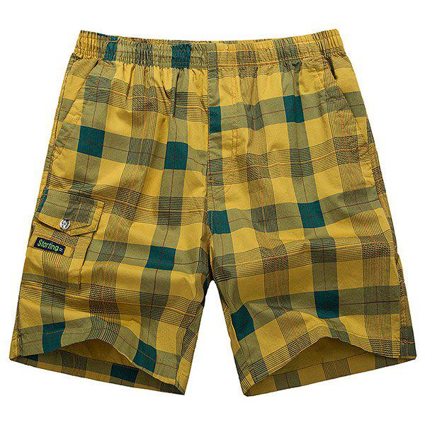 Loose-Fitting Lace-Up Pocket Design Straight Leg Plaid Men's Shorts - YELLOW 4XL