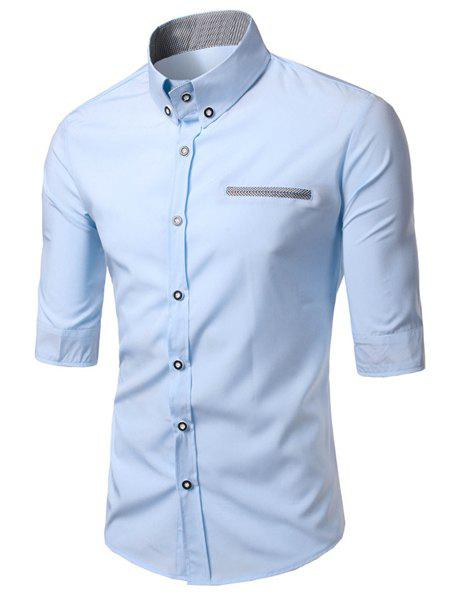 Modish Turn-Down Collar Color Block Purfled Pocket Half Sleeve Men's Button-Down Shirt - LIGHT BLUE XL