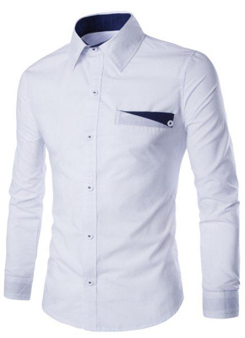 Special One Pocket Color Splicing Shirt Collar Long Sleeves Men's Slimming Shirt - WHITE 2XL