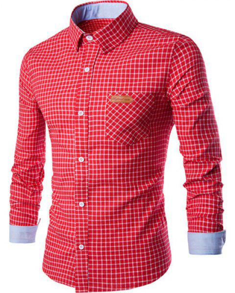 PU Leather Spliced One Pocket Hit Color Shirt Collar Long Sleeves Men's Checked Shirt - RED XL