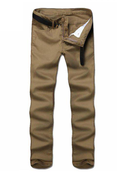 Jambe droite Pantalons Couleur Zipper Fly Hommes solides Casual - Kaki 28