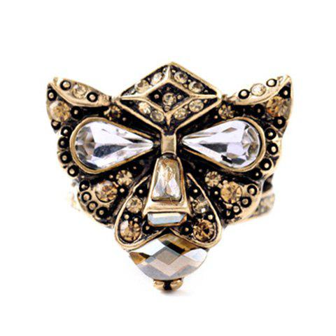 Delicate Faux Crystal Leopard Head Ring For Women - GOLDEN ONE-SIZE