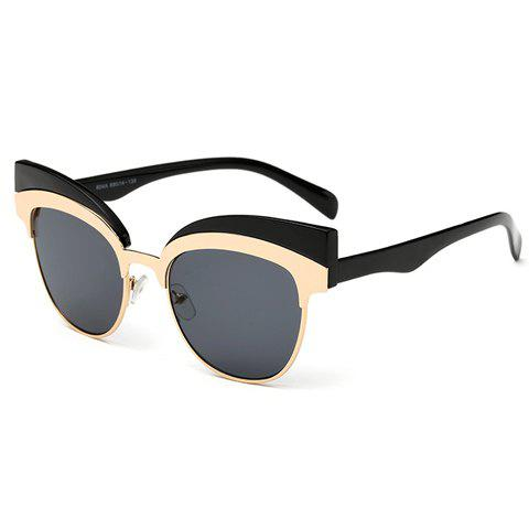 Chic Metal Splicing Black Frame Women's Sunglasses - GRAY