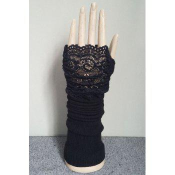 Pair of Chic Hollow Out Lace Edge Women's Black Knitted Fingerless Gloves