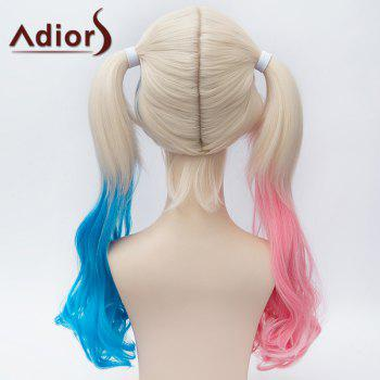 Fluffy Wavy Pink Blue Splicing Trendy Long With Bunches Synthetic Harley Quinn Cosplay Wig - COLORMIX