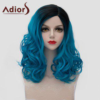 Trendy Bouffant Wavy Synthetic Lolita Medium Black Blue Gradient Universal Wig For Women