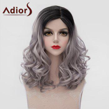 Fashion Black Gray Gradient Shaggy Wave Synthetic Lolita Style Medium Wig For Women