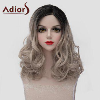 Fluffy Medium Wave Charming Black Ombre Ash Blonde Synthetic Universal Wig For Women