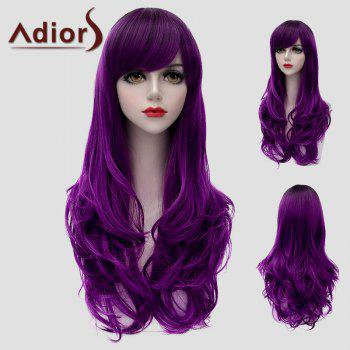 Attractive Long Side Bang Purple Fluffy Wavy Women's Synthetic Universal Wig