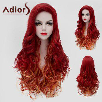 Fluffy Wavy Synthetic Charming Jacinth Ombre Orange Long Wig For Women