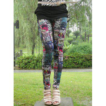 Stylish Elastic Waist Slimming Printed Women's Ninth Leggings