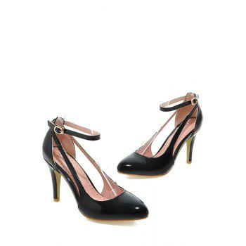 Elegant Ankle Strap and Patent Leather Design Pumps For Women - 34 34