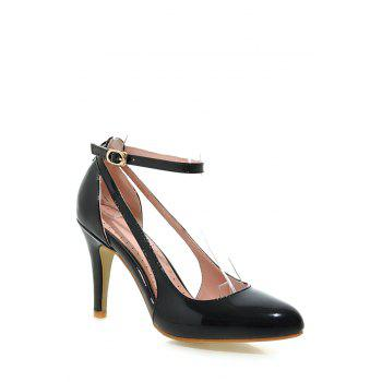 Elegant Ankle Strap and Patent Leather Design Pumps For Women - BLACK 34