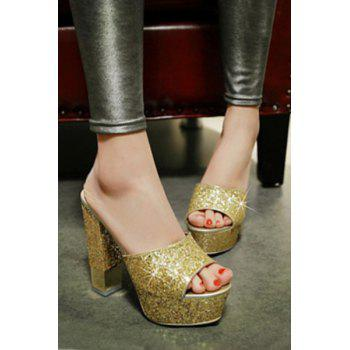 Stylish Sequins and Chunky Heel Design Slippers For Women - GOLDEN 39