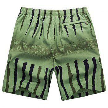 Loose-Fitting Lace-Up Ombre Letter Print Crack Design Straight Leg Men's Shorts - GREEN GREEN
