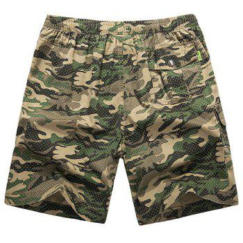 Loose-Fitting Lace-Up Camouflage Pocket Design Straight Leg Men's Shorts - XL XL