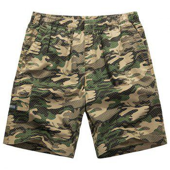 Loose-Fitting Lace-Up Camouflage Pocket Design Straight Leg Men's Shorts - YELLOW XL