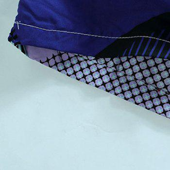 Straight Leg Geometric Print Flap Patch Pokect Drawstring Men's Board Shorts - PURPLE L