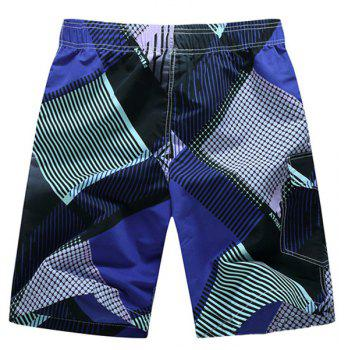 Straight Leg Geometric Print Flap Patch Pokect Drawstring Men's Board Shorts - XL XL