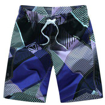 Straight Leg Geometric Print Flap Patch Pokect Drawstring Men's Board Shorts