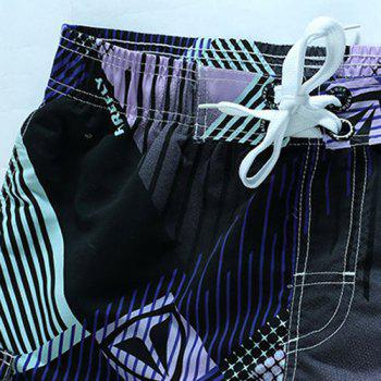 Straight Leg Geometric Print Flap Patch Pokect Drawstring Men's Board Shorts - L L